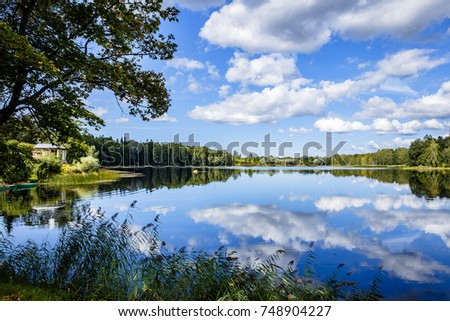 lake, clouds, summer day #748904227