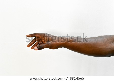 Man's hand. African right hand dark skin arm reaching on isolated white background  #748914565