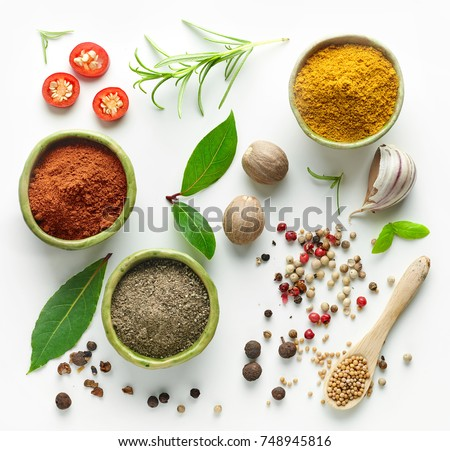 Various herb and spices, top view #748945816