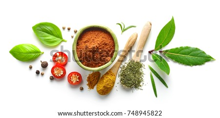 Various herb and spices, top view #748945822