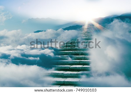 The way to success concept : stair on the cloud Royalty-Free Stock Photo #749010103