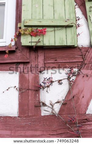 facades architecture and windows of framework buildings in south germany historical city between cities of munich and stuttgart in autumn month november #749063248