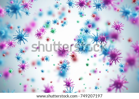 Pink and blue viruses and bacteria of various shapes against a white background. Concept of science and medicine. 3d rendering Royalty-Free Stock Photo #749207197