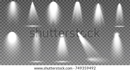 Scene illumination collection, transparent effects. Bright lighting with spotlights. #749359492