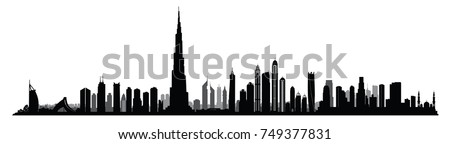 City Dubai skyline. UAE Urban cityscape. United Arab Emirates skyscraper buildings silhouette Royalty-Free Stock Photo #749377831