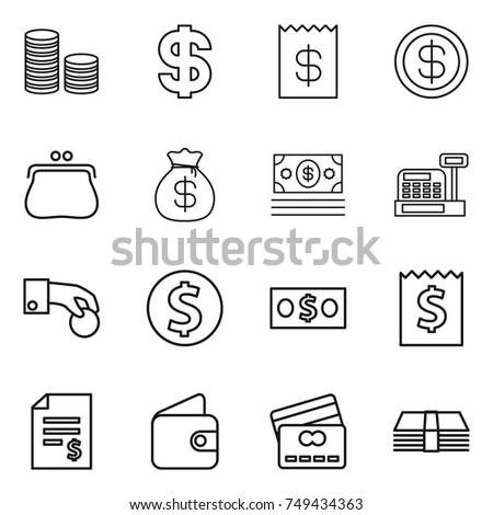 thin line icon set : coin stack, dollar, receipt, purse, money bag, cashbox, hand, account balance, wallet, credit card #749434363