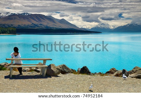Lake Pukaki and Mount Cook, Southern Alps, New Zealand #74952184