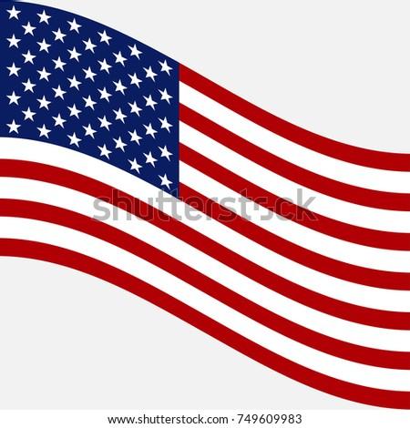 Flag of USA. Vector image of American flag #749609983