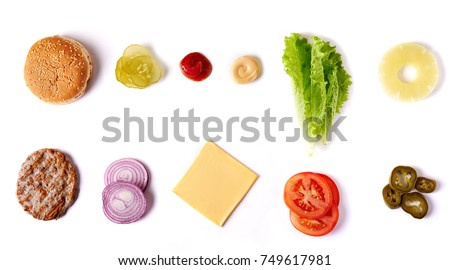 burger ingredients isolated on white background. top view Royalty-Free Stock Photo #749617981