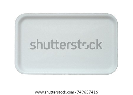 Disposable plastic plate isolated on a white background. #749657416