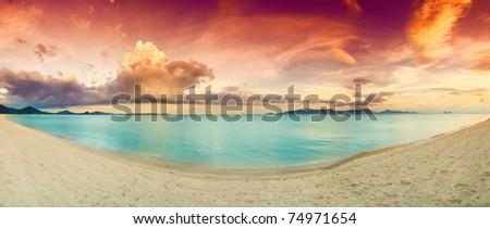 Stitched Panorama of tropical beach before sunset. Samuii island. Thailand #74971654