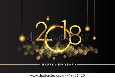 Happy New Year 2018 with glitter isolated on black background, text design gold colored, vector elements for calendar and greeting card. #749731420