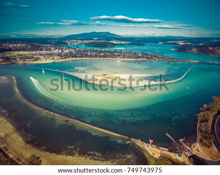Aerial view of shallow ocean water. Narooma, NSW, Australia #749743975