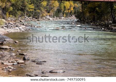 Animas river in the fall near Durango, Colorado #749750095