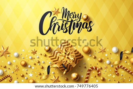 Christmas and New Years Golden background with golden gift box,ribbon and christmas decoration elements for Retail,Shopping or Christmas Promotion in golden style #749776405