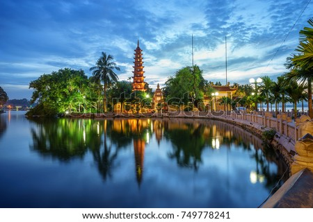 Panorama view of Tran Quoc pagoda, the oldest temple in Hanoi, Vietnam #749778241