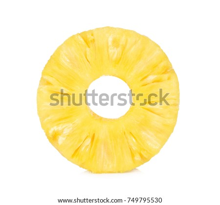 Slices of Fresh pineapple, Donut shapes, Canned pineapple, isolated on white background. #749795530