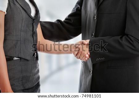 Young business couple handshaking #74981101