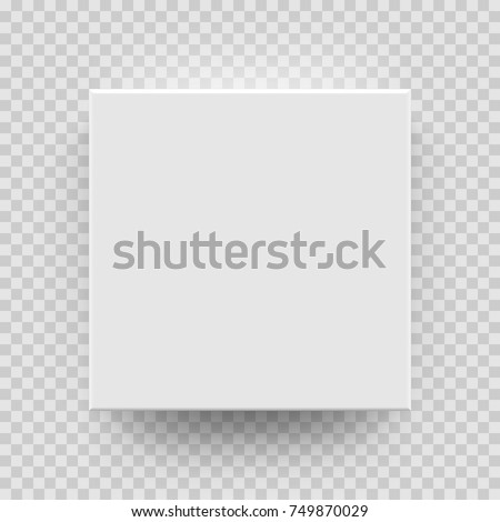 White box mock up model 3D top view with shadow. Vector isolated blank cardboard open or white paper matchbook container box package template on transparent background. Royalty-Free Stock Photo #749870029