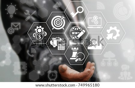 Successful businessman offers earth globe internet pencil icon on a virtual screen. Website Network Social People Connection ICT (Information Communication Technology) Business concept.