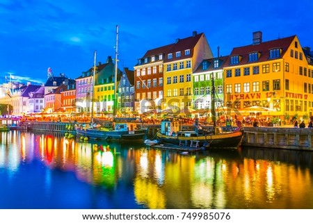 COPENHAGEN, DENMARK, AUGUST 20, 2016: Night view of the old Nyhavn port  in the central Copenhagen, Denmark.