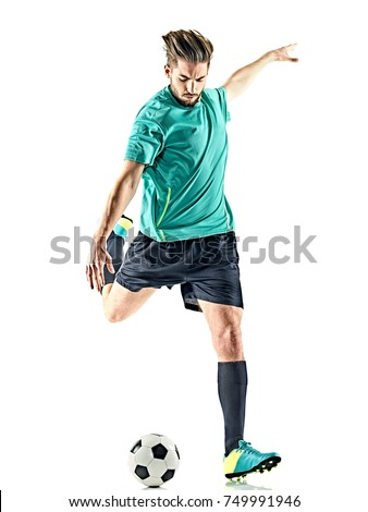 one caucasian soccer player man isolated on white background Royalty-Free Stock Photo #749991946
