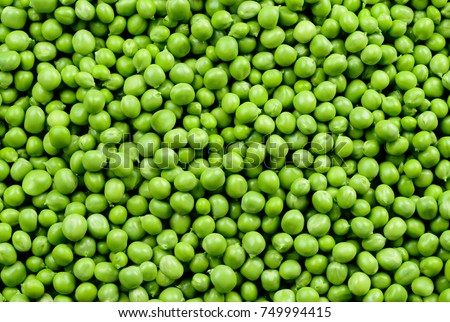Green Peas. Green background. Peas background. Top view. #749994415