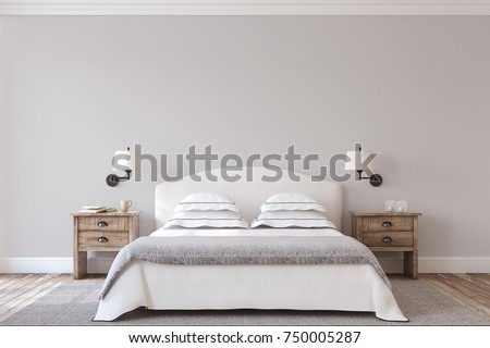 Bedroom interior in farmhouse style. 3d render. #750005287