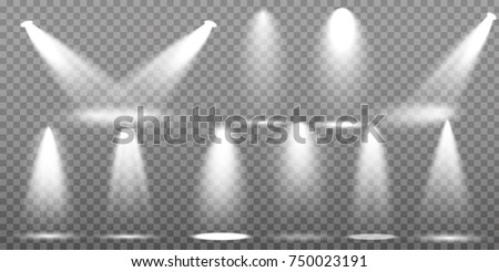 Scene illumination collection, transparent effects. Bright lighting with spotlights. #750023191
