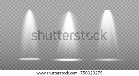 Scene illumination collection, transparent effects. Bright lighting with spotlights. #750023275