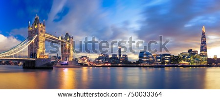 Panorama of Tower Bridge at Sunset in London, Uk. Royalty-Free Stock Photo #750033364