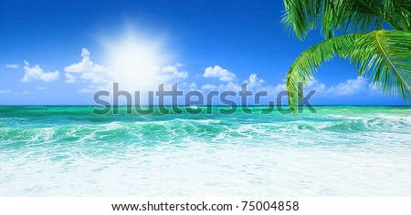 Beach, beautiful panoramic sea view, with clean water & blue sky #75004858