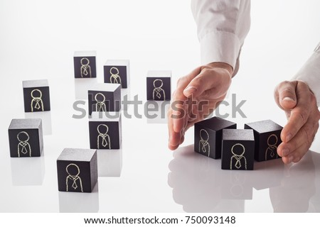 Selection and analysis candidate on work. Choice resume, business recruitment. HR manager is checking off workers in planning to select them for a work team.  Royalty-Free Stock Photo #750093148