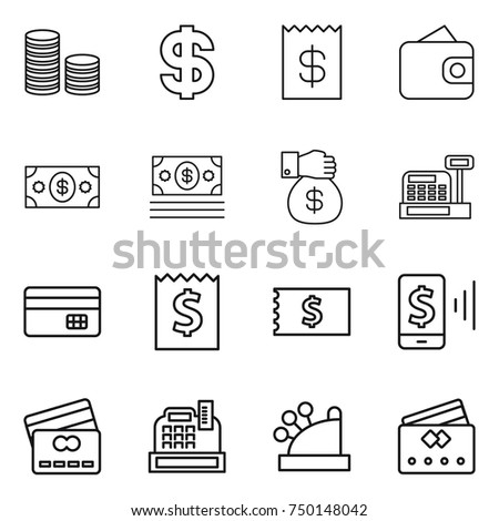 thin line icon set : coin stack, dollar, receipt, wallet, money, gift, cashbox, credit card, mobile pay #750148042