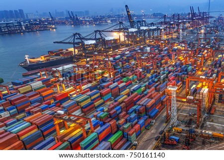 industrial port with containers #750161140