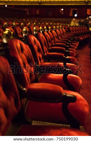 Paris, France - NOV 30, 2013: Interior of the Palais Garnier (Opera Garnier). Interior view of the Opera National.It was built from 1861 to 1875 for the Paris Opera house. #750199030