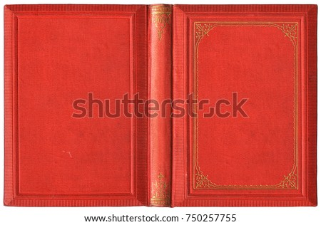 Old open book cover in red canvas and embossed golden decorations - circa 1895, isolated on white, XL size #750257755