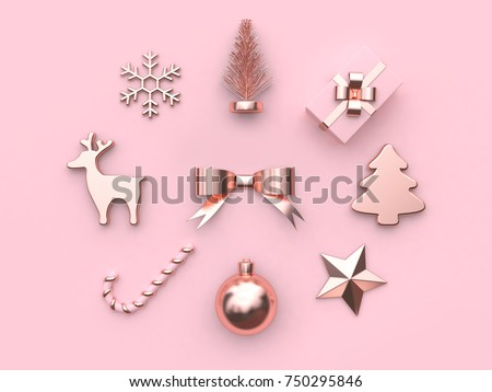 pink metallic glossy-rose gold abstract bow ribbon christmas ball star tree gift box snow reindeer candy christmas holiday new year concept 3d rendering