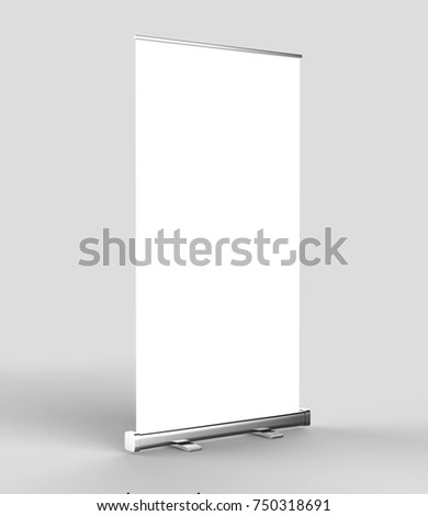 White blank empty high resolution Business Roll Up and  Standee Banner display mock up Template for your Design Presentation. 3d render illustration. 120x200cm #750318691