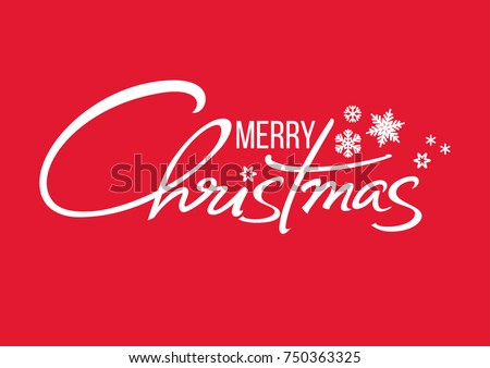 Merry Christmas handwritten lettering. White text with snowflakes isolated on red background. Christmas holidays typography. Vector illustration. Royalty-Free Stock Photo #750363325