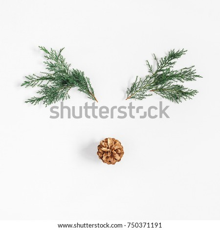 Christmas decoration. Christmas reindeer made of fir branches and pine cone on white background. Flat lay, top view, square #750371191