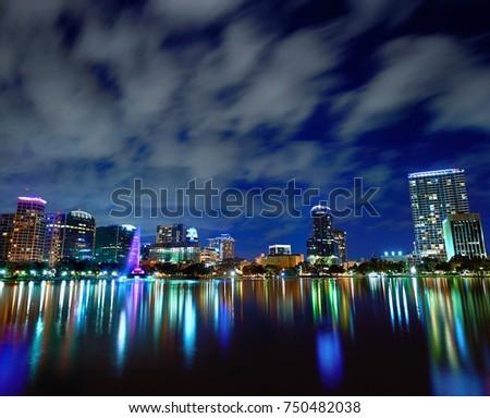 Orlando and Lake Eola at Night #750482038