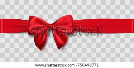 red satin ribbon and bow vector illustration #750496771