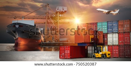 Truck transport container on the road to the port with oil and gas industry petrochemical plant background, logistic import export and transport industry background #750520387