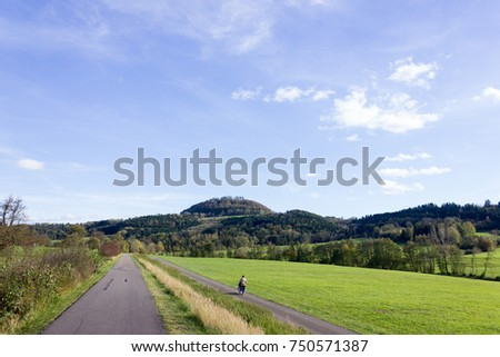 outdoor exercise bikeway in south germany countryside in autumn #750571387