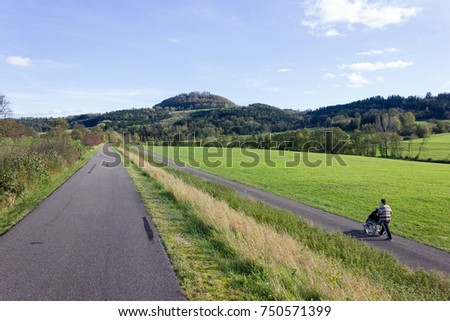 outdoor exercise bikeway in south germany countryside in autumn #750571399