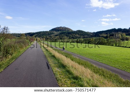outdoor exercise bikeway in south germany countryside in autumn #750571477
