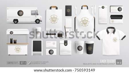 Coffee, Cafe, Food Truck - Branding corporate identity Mockup. Realistic MockUp set of lettering logo, food delivery truck, uniform, food cart, street menu, paper pack. Coffee, Fast food package Royalty-Free Stock Photo #750593149