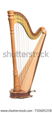 Classical music instrument. Pedal harp Royalty-Free Stock Photo #750685258