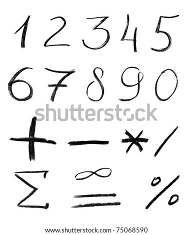 Pencil sketch of numbers isolated on white background